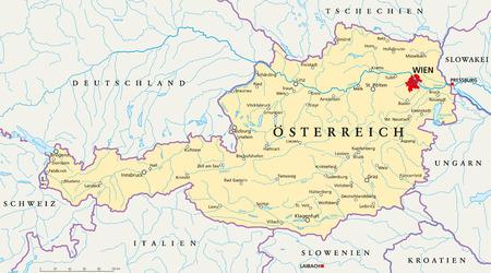 Oostenrijk politieke kaart met Duitse etikettering en schaal