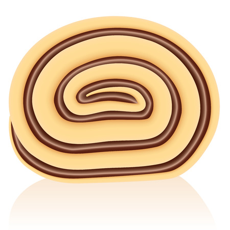 swiss roll: Slice of a swiss roll cake filled with chocolate cream
