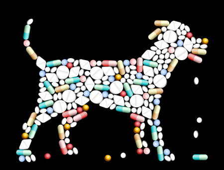 Tablets, pills and capsules, that shape the silhouette of a dog  Illustration