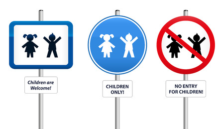 upbringing: Three signs, that welcome children or that try to keep them away  The text in the signs can be changed  Illustration