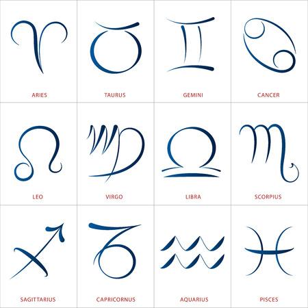 12 の黄道十二宮のカリグラフィ占星術イラスト