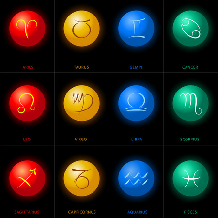 Astrology illustrations of the twelve zodiac signs in colored spheres  Vector