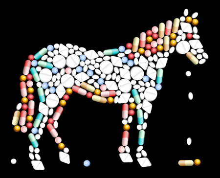 Tablets, pills and capsules, that shape the silhouette of a horse  Illustration