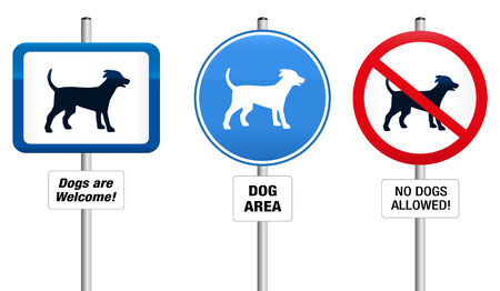dog allowed: Three dog signs, that say  Dogs are Welcome  - Dog Area - No Dogs Allowed  Illustration