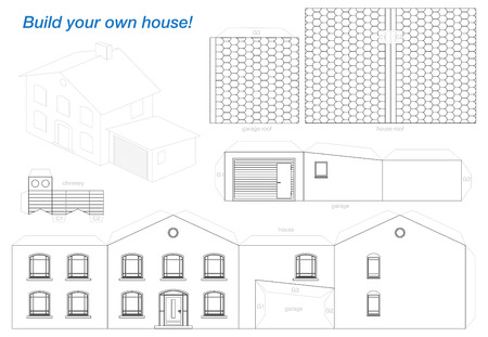 house plan: Paper model of a house with garage