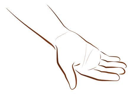 begging: Outline illustration of a hand that is begging