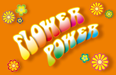 woodstock: Flower power lettering with floral symbols  Stock Photo