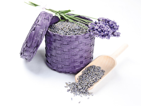 bast basket: Dried and fresh lavender flowers in a bast basket with wooden shovel  Stock Photo