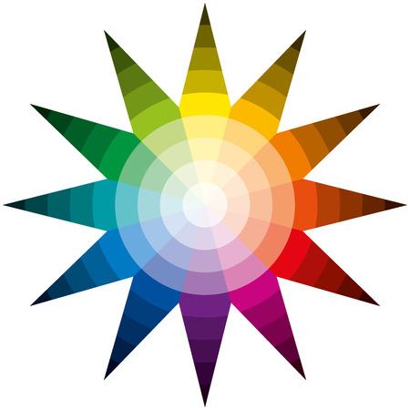 brightest: Colore Stella - Dodici colori di base in un cerchio, formando una stella, laureato presso il pi� luminoso al pi� bui isolati vettori di colore su sfondo bianco Vettoriali