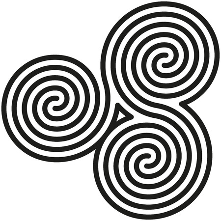 Celtic Double Spirals Labyrinth - White and black double spirals are forming a labyrinth and also a celtic symbol