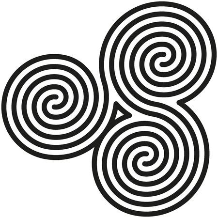 talisman: Celtic Espirales dobles Labyrinth - Blanco y dobles espirales negras están formando un laberinto y también un símbolo celta Vectores