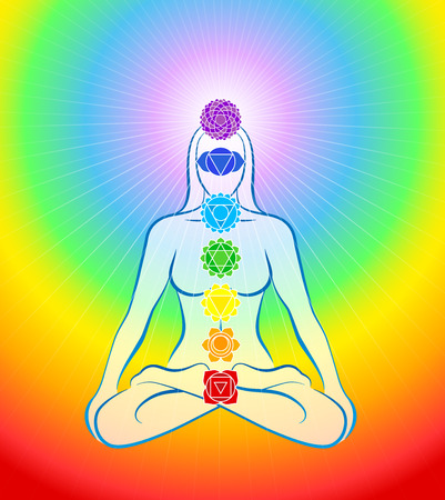 holistic health: Meditating woman in yoga position with the seven main chakras - Rainbow gradient background