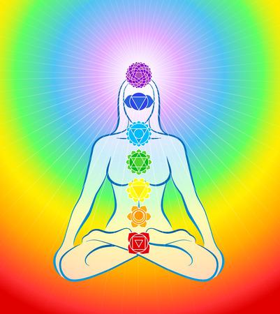 Meditierende Frau in Yoga-Position mit den sieben Hauptchakren - Regenbogen Hintergrund mit Farbverlauf Illustration