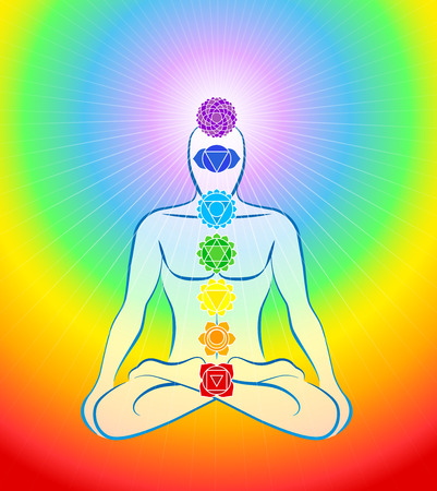 holistic health: Meditating man in yoga position with the seven main chakras - Rainbow gradient background