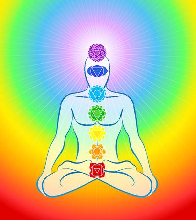 Mediteren man in yoga positie met de zeven belangrijkste chakra's - Rainbow gradient achtergrond Stock Illustratie