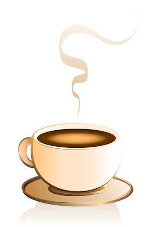 Café caliente en una taza de porcelana de color crema