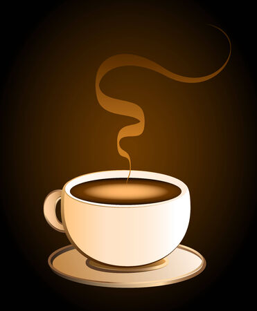 stimulant: Hot coffee in a cream colored porcelain cup - brown background