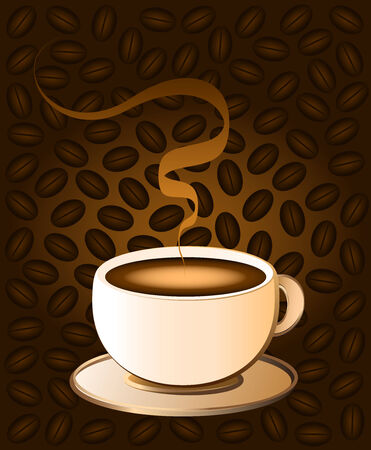 stimulant: Hot coffee in a cream colored porcelain cup - brown background with coffee bean pattern