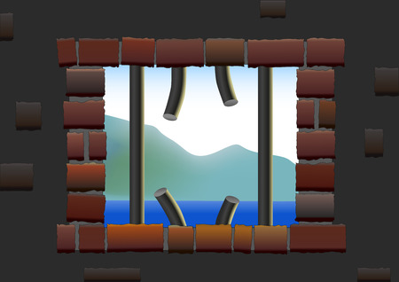 jailbreak: Broken up bars of a jail house window from where a prisoner has escaped