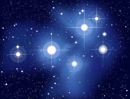 Illustration of the Pleiades, also called Seven Sisters, M45, an open star cluster located in the constellation of Taurus