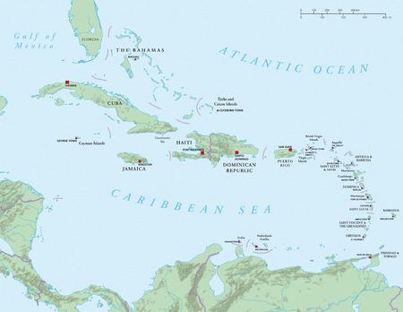 カリブ海の大アンティル諸島の政治地図