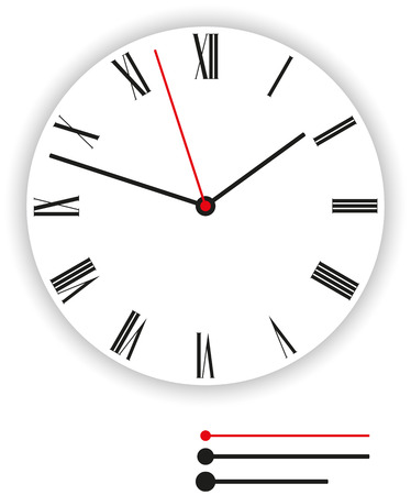 round face: Clock Face Classic - Illustration of a classic clock face  dial  as part of an analog clock  watch  with black and red pointers  Illustration