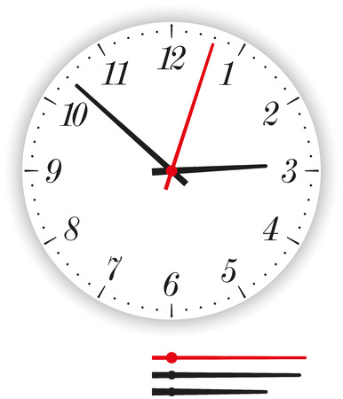 clockface: Clock Face Modern - Illustration of a modern clock face  dial  as part of an analog clock  watch  with black and red pointers