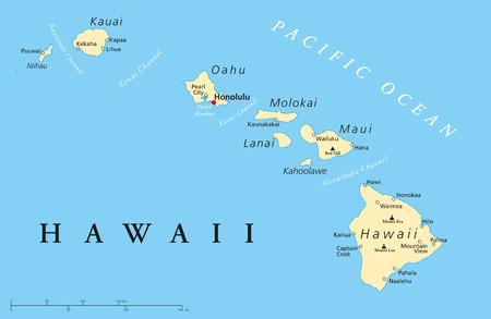 Politische Karte der Hawaii-Inseln mit der Hauptstadt Honolulu, mit Grenzen, die wichtigsten Städte und Vulkane Illustration