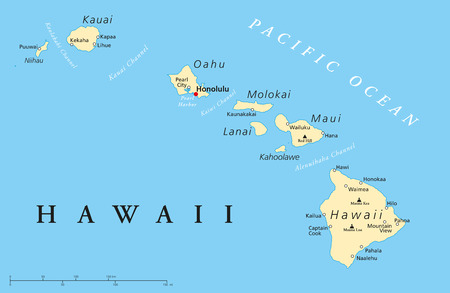 Political map of Hawaii Islands with the capital Honolulu, with borders, most important cities and volcanoes  Illustration