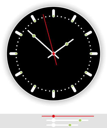 clockface: Clock Face Black - with black background as part of an analog clock  watch  with black and red pointers