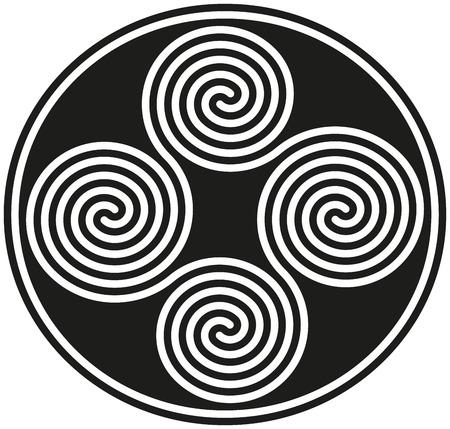 Conectado celtas dobles espirales - que forman un símbolo céltico antiguo conocido Ilustración de vector