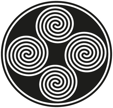 Connected Celtic Double Spirals - forming a well known ancient celtic symbol