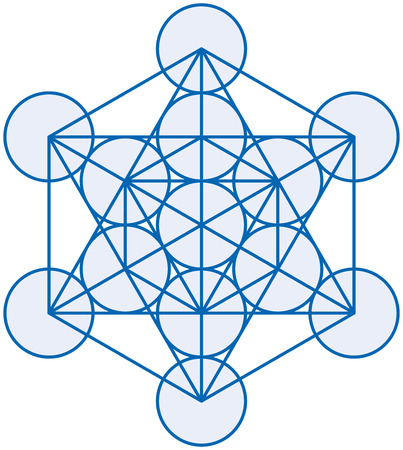 aesthetics: Metatron Cube - Metatrons Cube is a powerful symbol, derived from the Flower of Life  Vector illustration on white background