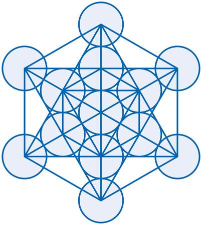geometria: Metatron Cubo - Metatrons Cube es un símbolo poderoso, derivado de la Flor de la Vida ilustración vectorial sobre fondo blanco