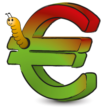 Wormy Euro - Cartoon of an Euro symbol being eaten by a worm Illusztráció