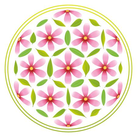 Flower-of-Life-Symbol, der rosa Blumen und grünen Blättern zusammengesetzt Vektorgrafik