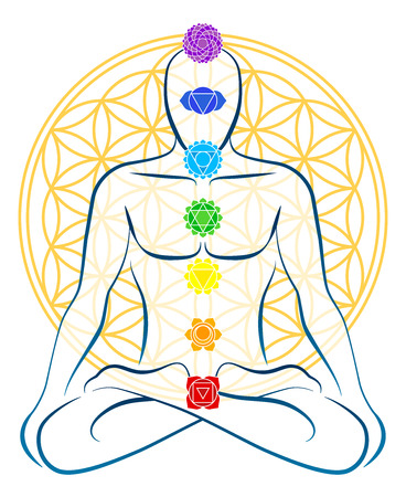Meditating man with the seven main chakras, which match perfectly onto the junctions of the Flower-of-Life-Symbol in the background