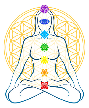 Meditating woman with the seven main chakras, which match perfectly onto the junctions of the Flower-of-Life-Symbol in the background