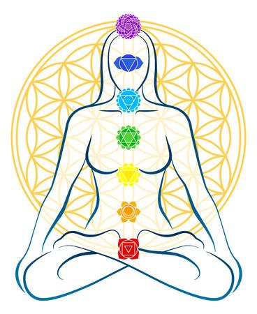Mediteren vrouw met de zeven belangrijkste chakra's, die perfect aansluiten op de knooppunten van de Flower-of-Life-symbool op de achtergrond