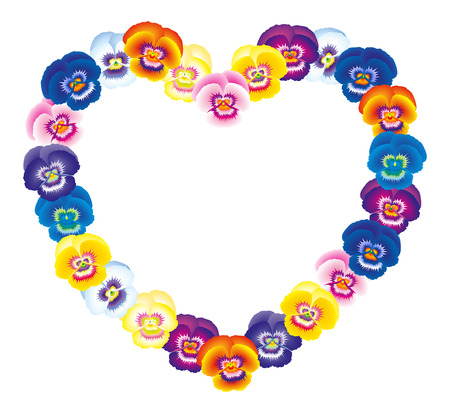 stench: Illustration of a colorful pansy heart bouquet