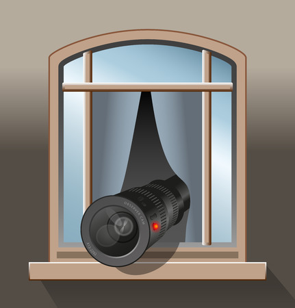 big brother spy: An agent, a spy or a voyeur is secretly observing with a camera out of a window Illustration