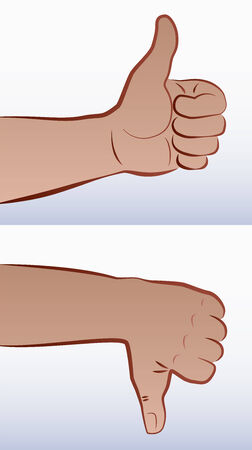 disagree: Thumbs up for agreement, and thumbs down for disagreement Illustration