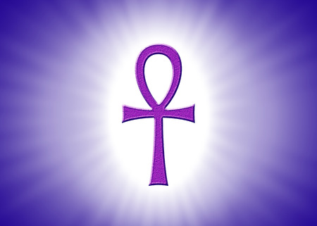 egyptian: Ankh Hieroglyph With Light Rays On Violet Background