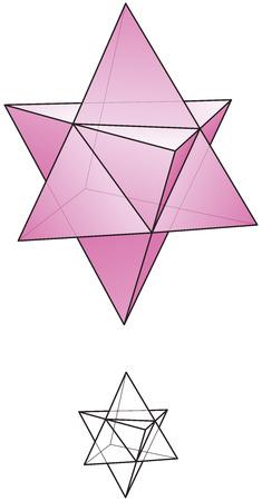 Ein sternförmigen Oktaeder oder stella octangula können als 3D-Erweiterung der Davidstern zu sehen