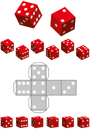 Dice Template - Sewing pattern of a cube and various 3D views Vector