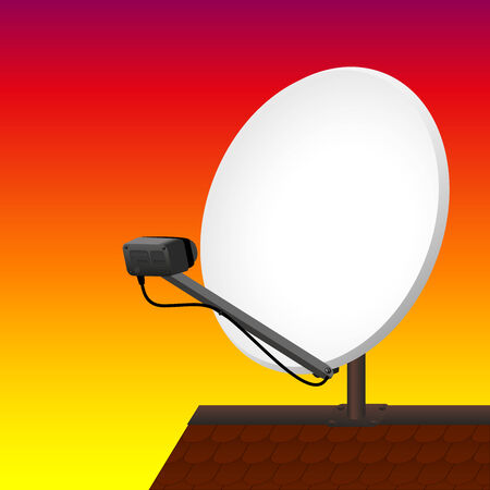rooftop: Satellite dish on rooftop to receive signals