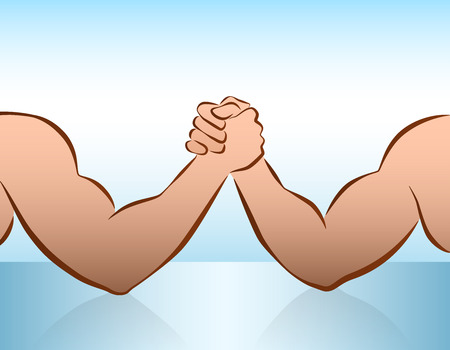 business rival: Muscular male arms in a wrestling competition  illustration on blue gradient background  Illustration