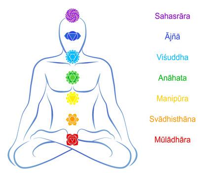 spiritual growth: Seven main chakras beaded along the corresponding body regions of a meditating man - names in Sanskrit   Illustration