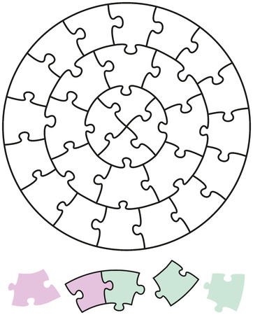 tessellated: Jigsaw Puzzle Circles in the form of circles with single pieces which can be individually removed and arranged
