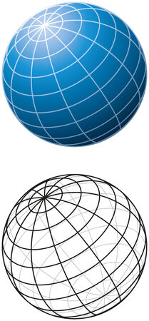 Blue Sphere With Meridians - Three-dimensional blue sphere with grid-lines and outline version  Vector